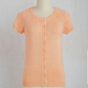 ModCloth > Peach Cap Sleeve Button-Up Cardigan
